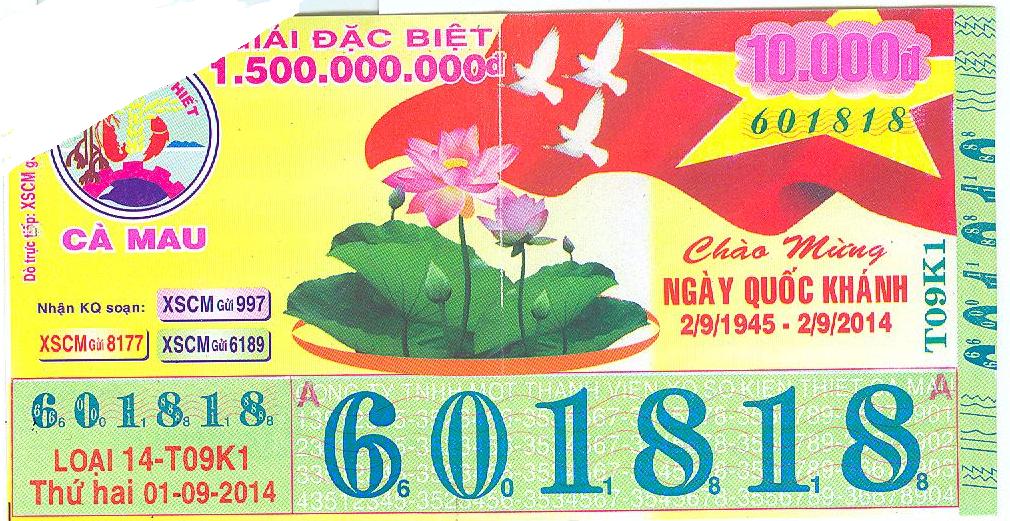 Thông báo đại lý mẫu vé số giả kỳ 14-T09K1 ngày mở thưởng 01/9/2014